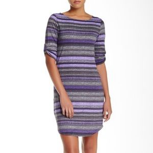 Soybu Active Elana Purple And Gray Striped Dress